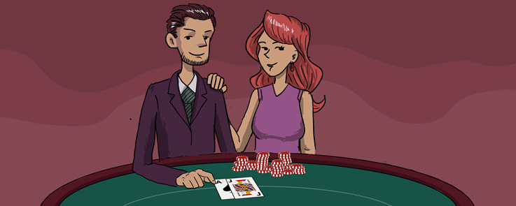 Man and Woman sitting near a blackjack table with casino chips
