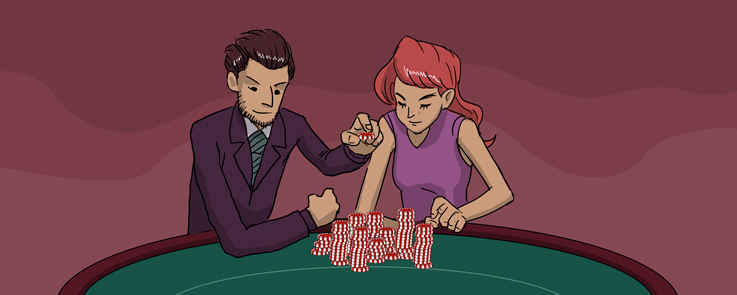 Man and woman are betting in a casino's blackjack table