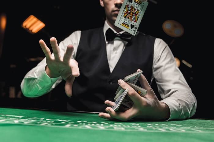 a player showing off with card skills