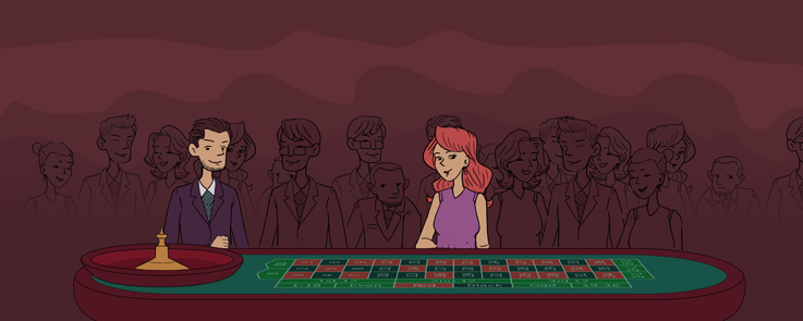 A crowded Roulette table at the casino. Man and Woman standing far from eachother
