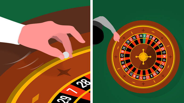 A hand releasing the roulette ball with some speed and a wide shot showing the ball being releasing in the same spot