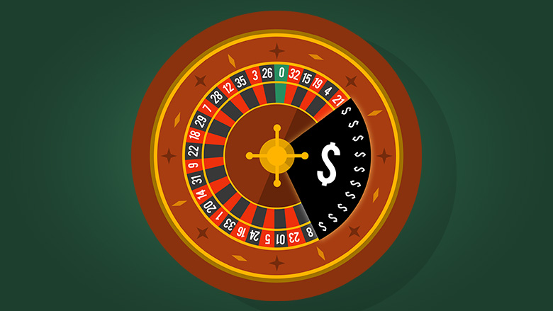 Roulette wheel with shaded area cover with dollar signs