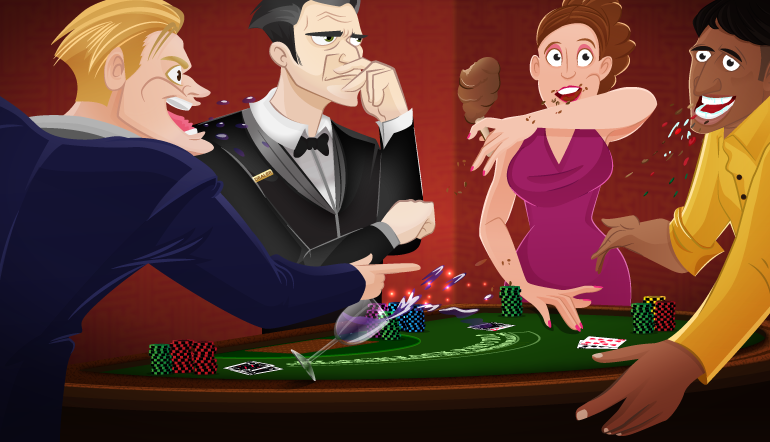 Players eating at the casino game table. The Croupier is not happy
