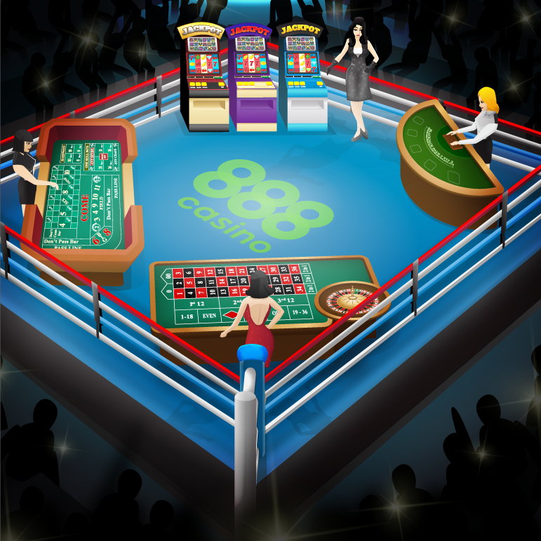 Casino Games inside a boxing ring with 888casino logo in the center