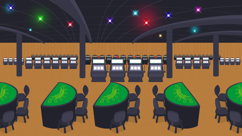 Land Based Casino with rows of Blackjack tables and slot machines