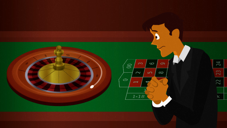 Roulette wheel is spinning. The player's is looking at it with panic in his eyes