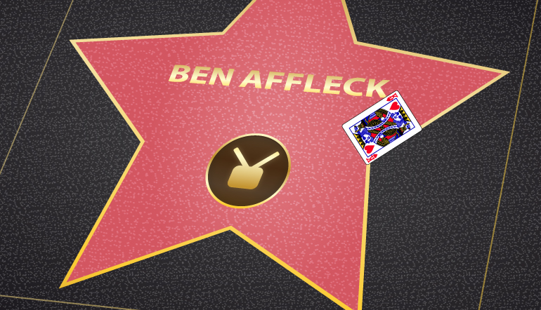 Ben Affleck walk of fame star with a king of hears card on it