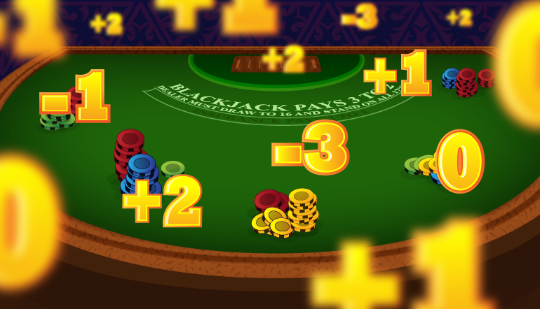 Blackjack table with floating card counting calculations