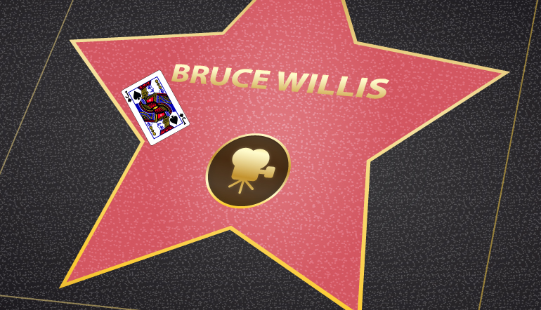 Bruce Willis walk of fame star with a king of hearts card on it