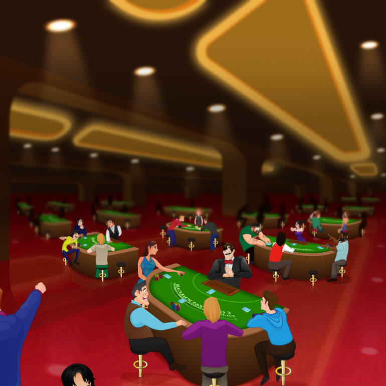 Casino floor with game tables