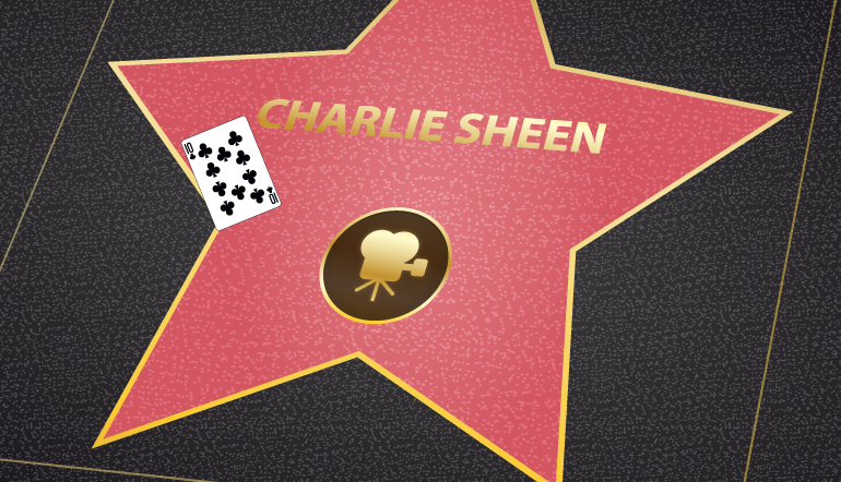 Charlie Sheen star at the walk of fame with a ten of clubs card