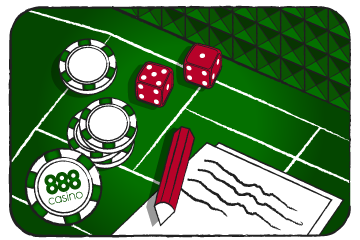 Craps table, casino chips and dice