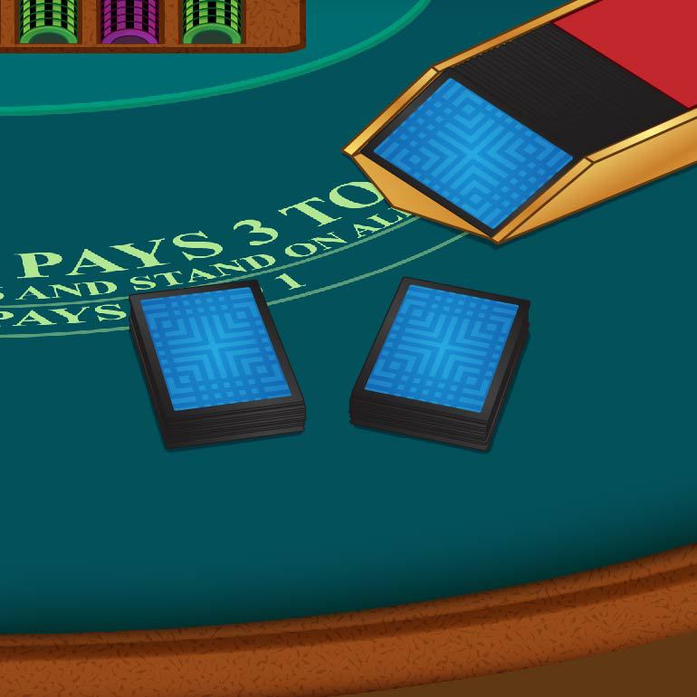 double decks on a blackjack table