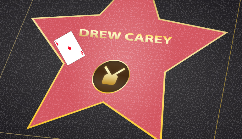 Drew Carey walk of fame star with an ace of diamonds card on it