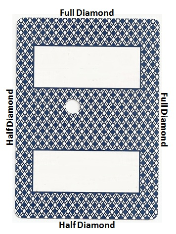 Full Diamond back of card image - This is asymmetric. Two adjacent edges of the cards clearly have a blue half-diamond shape, while the other two edges clearly have a blue full-diamond shape