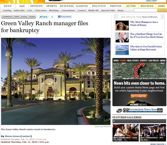 green valley ranch manager files for bankruptcy