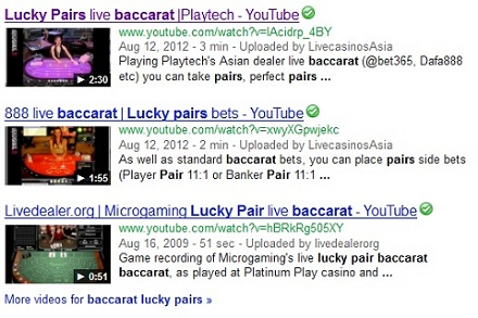 lucky pairs live baccarat search results