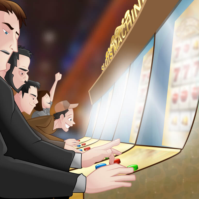 Casino players plays on the slot machines