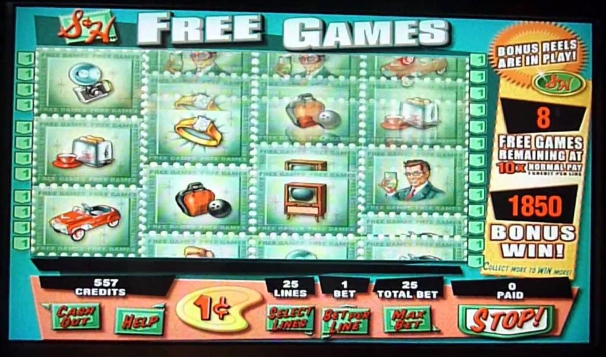 "Slot machine screen with the title ""Free Games"""