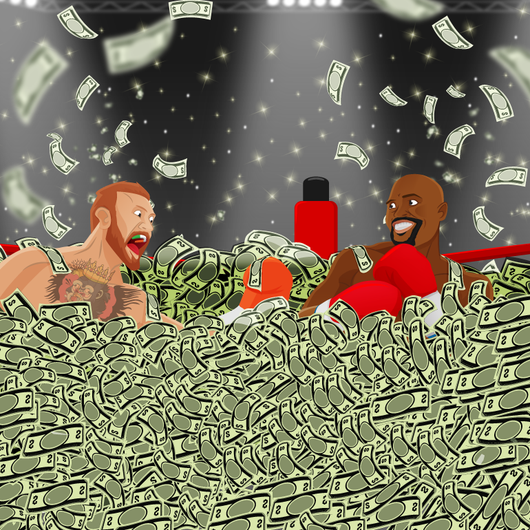 McGregor and Mayweather fighting in a boxing ring full of money