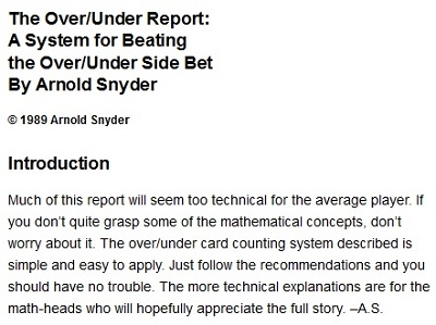 the over/under report: a system for beating the over/under side bet by arnold synder introduction\