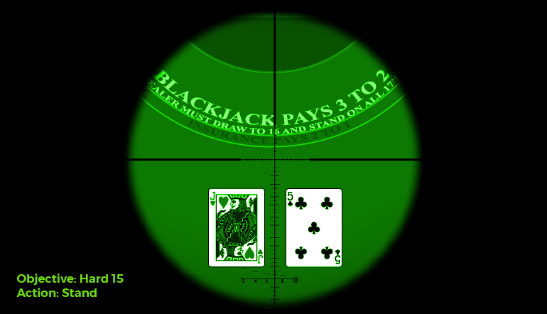 The sight of a blackjack table with cards through a night vision scope