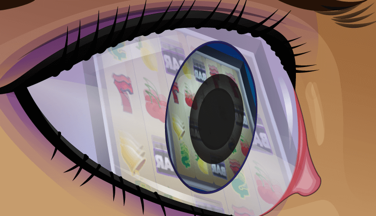 A slot machine through player's eye