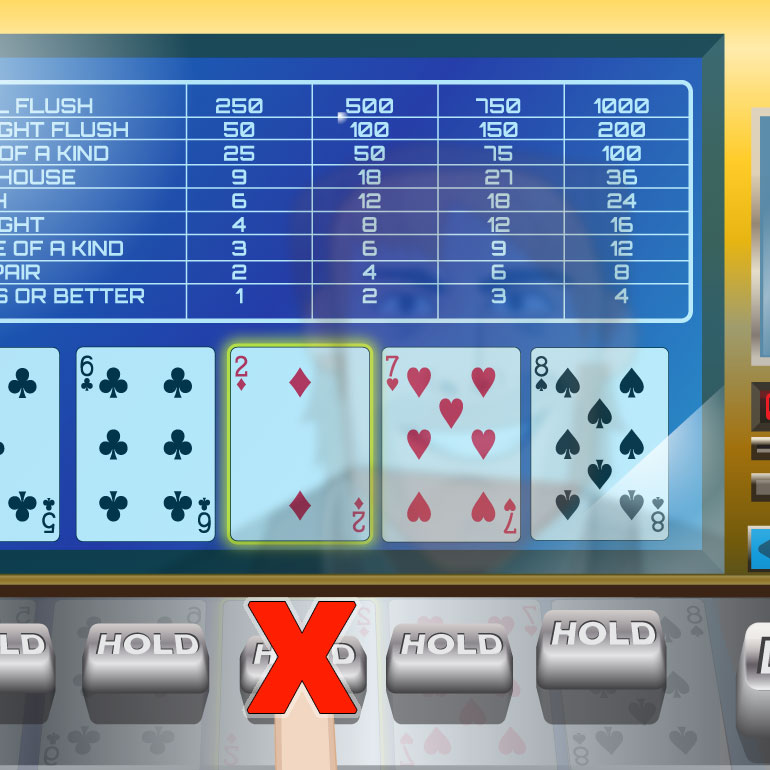 Video poker hand, one card from a straight