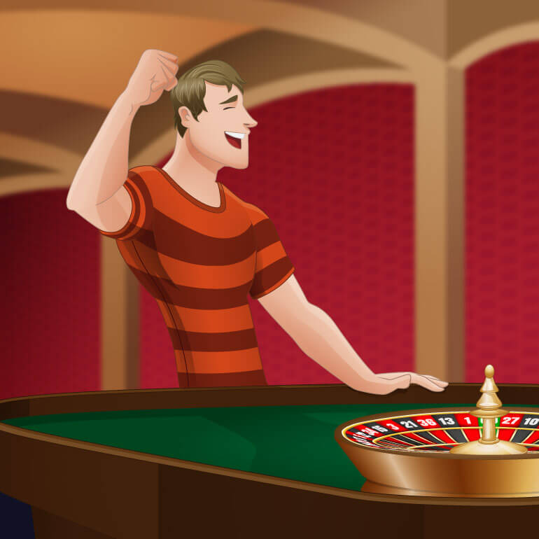 Roulette player is celebrating a winning bet