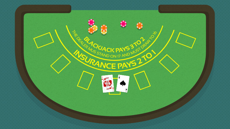 Blackjack table layout with an Ace of spades, King of hearts Cards and casino chips