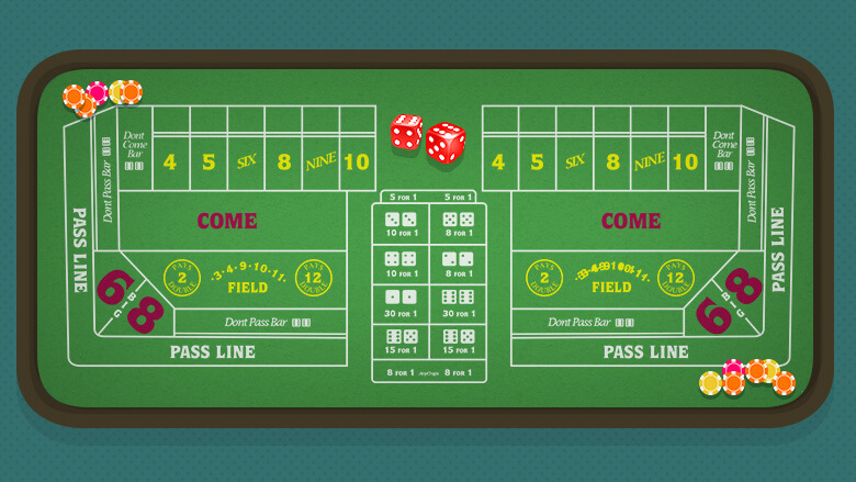 Craps table layout with casino chips
